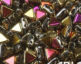 CALIFORNIA SUN: Kheops par Puca Two-Hole Triangle Czech Glass Beads, 6x6mm (10 grams)
