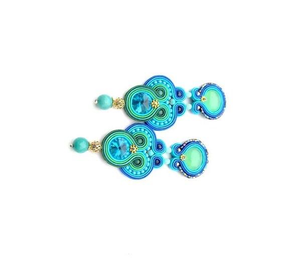 unique blue soutache clip on earrings blue by