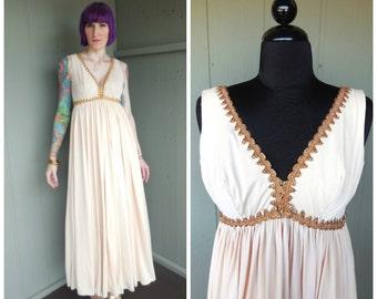 1960's Cream Grecian Goddess Draped Empire Waist Maxi Dress w Iridescent Prong-Set Rhinestones on Gold Metallic Embroidered Cording - Medium
