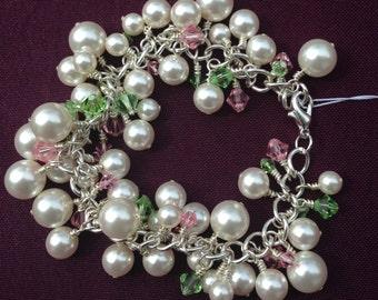 Pearl Bracelet, Pink and Green Bracelet,Spring Pearl Bracelet, Cluster Bracelet, Swarovski Pearl Rose Peridot Crystal Bracelet - 7 Inches