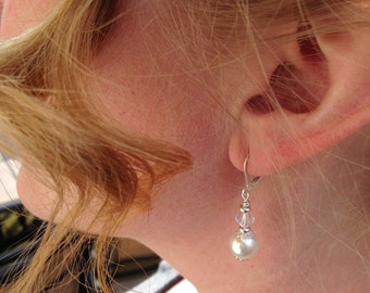 """Greenlea -Bridal Earrings, Pearl Earrings, Swarovski  White Pearl Silver Earrings, Silver Earrings, Bridal Jewelry, Dangling earrings 1 1/2"""""""
