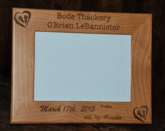 SIX 5x7 Laser Engraved Alder Wooden Picture Frame, Custom picture frame, personalized picture frame 5x7