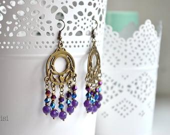 Purple earrings bronze chandelier earrings