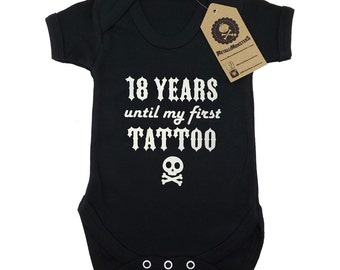 18 years until my first tattoo printed baby vest alternative goth rock