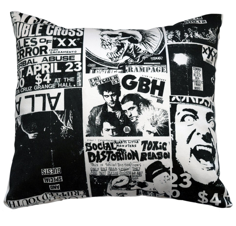 Punk Bedroom Gift For Grad Perfect For College Dorm Room Punk Rock Pillow