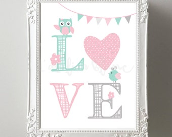 Poster Love - pink and green Mint