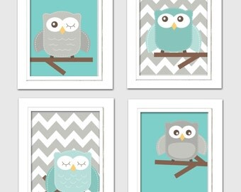 Digital Nursery Art, Teal and Grey nursery, Nursery Owl Art, Teal and Gray Nursery, Owl Nursery, Digital download