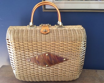 Vintage Wicker and Lucite Purse Large