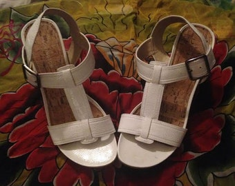 Vintage white vinyl and cork wedges! 7.5. Adorable and Clean!