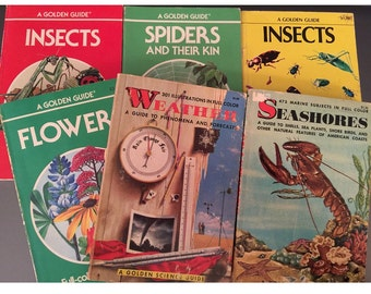 6 Vintage Golden Guides, 2 Insects, Spiders, Flowers, Weather, Seashores