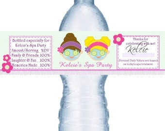 49 Personalized Spa Birthday Party Water Label Favors