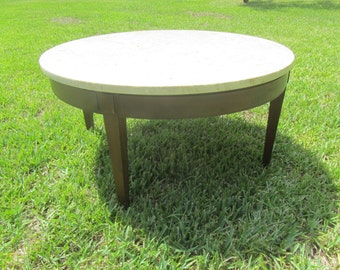 Round Table Coffee Table Marble Top Table Vintage Table Mid Century