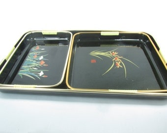 Serving tray, vintage tray set ,black lacquer, mid century tray, bar ware ,
