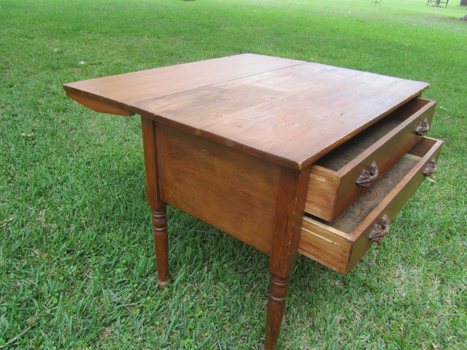 Antique drop leaf table and drawers wood furniture farm