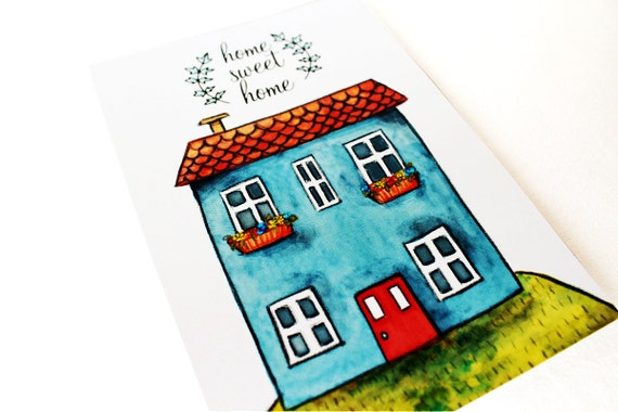 Home sweet home card illustrated for housewarming gift