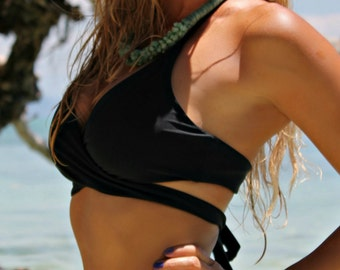 Reversible Black/Black Wrap Around Bikini Top - Great Support - Ties in Back - High Quality Swimwear Fabric - New