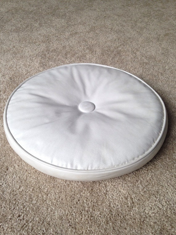Mid Century Modern Round Pillow : Round White Vinyl Faux Leather Button Tufted Cushion Throw