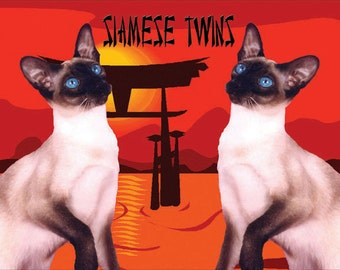 Siamese Twins Cat Fridge Magnet 7cm by 4.5cm,