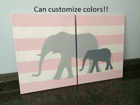 Elephant Nursery Wall Decor Elephant Wall Art Pink And Gray