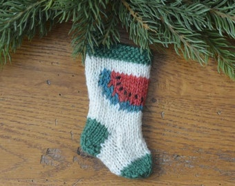 Watermelon Hand-Knit Christmas Stocking Ornament  Melon Fruit