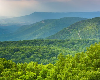 View of Blue Ridge Mountains from Loft Mountain, Shenandoah National Park, Virginia - Landscape Photography Fine Art Print or Wrapped Canvas