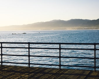 Fence on Santa Monica Pier and view of mountains & Pacific Ocean, Santa Monica, California - Photography Fine Art Print or Wrapped Canvas
