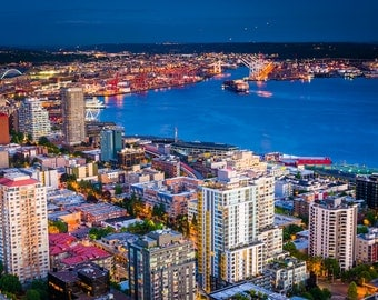Twilight view of downtown Seattle and Elliott Bay, in Seattle, Washington - Photography Fine Art Print or Wrapped Canvas