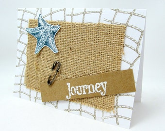Journey Card - Starfish Card - Nautical Theme - Beach Theme - Blank Card - Burlap - Natural Color - Rustic Chic Style