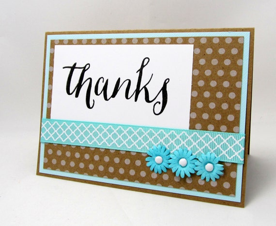 Thanks - Thank You Card - Kraft Card - Blank Card - Turquoise and Brown - Polka Dots - Turquoise Ribbon - Turquoise Flowers - Hand Stamped
