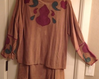Vintage Suede Appliqued Top with Bugle Beads and Skirt Size Large