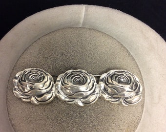 Vintage Sterling Silver 3-D Triple Rose Pin
