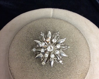 Vintage 3-D Rhinestone Floral Pin