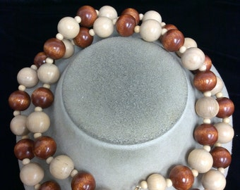 Vintage Chunky Tan & Brown Wooden Beaded Necklace