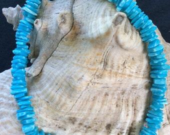 Vintage Blue Glass Stone Necklace