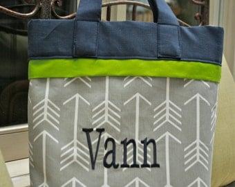 Arrows Diaper Bag: Gray - Custom Made to Order