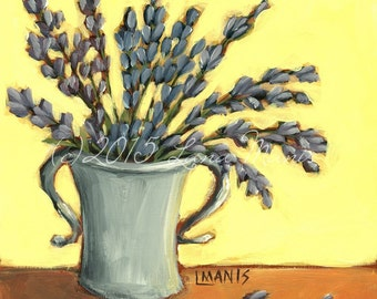 Lavender #5 - Fine Art PRINT - Bouquet in Silver Gray Vase - cottage chic, whimsical, contemporary, acrylic painting, nursery art