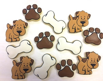 Dog Theme Cookie Favors, Pups and Paws Party Favor Cookies for Birthdays, Paw Print Cookies, Dog Bone Cookies, Personalized Cookies