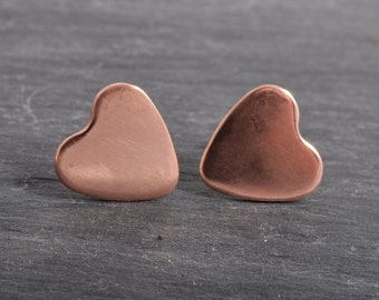 Handmade plain copper heart ear studs with sterling silver ear posts