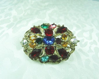 Multi Colored Rhinestone Brooch, Gold Tone Vintage Pin