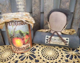 Primitive Doll - Amish - Shelf Sitter - Cupboard Tuck - Amish Doll - Apple Sauce - Tin Can - Primitve Decor - Rustic Decor - Amish Made