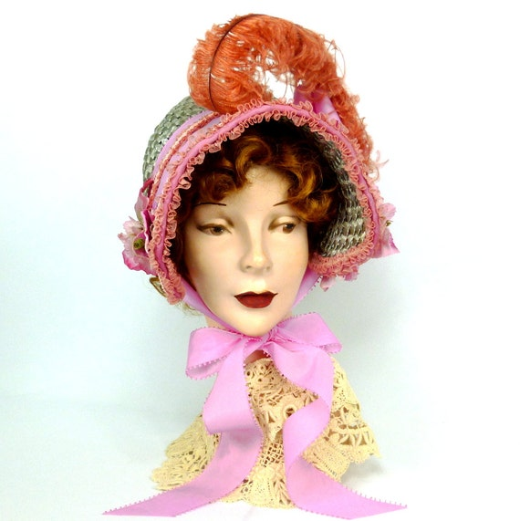 Victorian Style Hats, Bonnets, Caps, Patterns Repoduction 1800s Visiting Bonnet  -Vintage Straw -Vintage Flowers -Pink & Green -Lace -Ribbon -Regency -Victorian -Civil War -Costume -SASS $165.00 AT vintagedancer.com