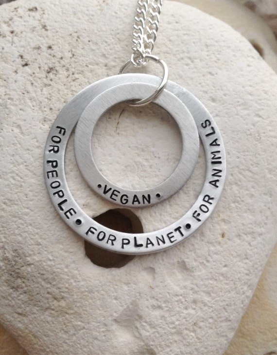 """Vegan for the people, for the planet, for animals handstamped washer set necklace on 18"""" chain."""