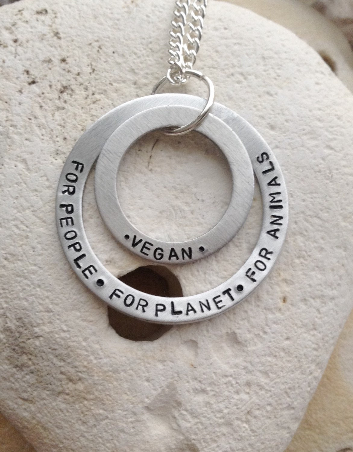 "Vegan for the people, for the planet, for animals handstamped washer set necklace on 18"" chain."