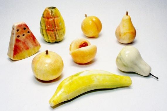 Italian Alabaster Stone Fruit Peach W Pit Studio Nova