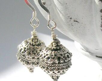 Silver Bali Bead Earrings - Sterling Silver Ear Wires - Handmade Earrings