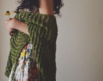 Silvie Shawl in moss - handknit in cotton silk blend, lightweight , summer, spring, wrap, scarf