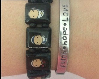 faith hope LOVE handstamped cuff