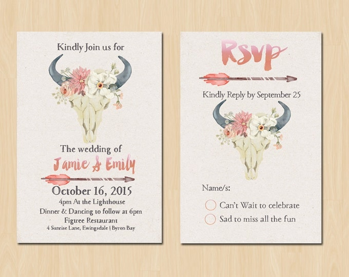 Rustic Boho Invitation // Bohemian Wedding invitation Set // Blush Pink // Printable Files for the DIY Bride// Invite Plus RSVP