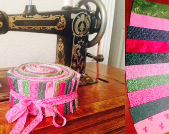 Pink and green jelly roll fabric