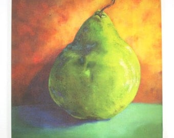 Green Pear on hangable tile Original Painting